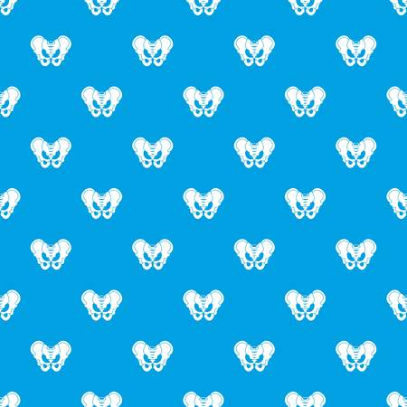 Pelvis pattern repeat seamless in blue color for any design. Vector geometric illustration Çizim