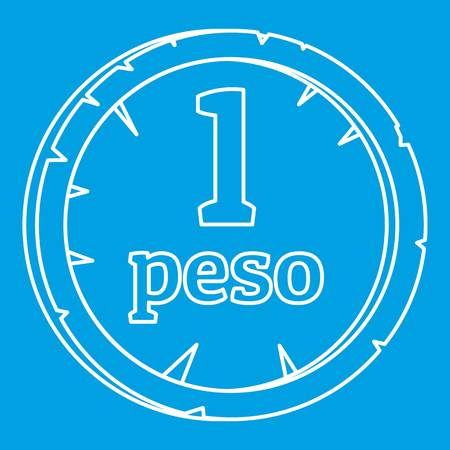 Peso icon blue outline style isolated vector illustration. Thin line sign