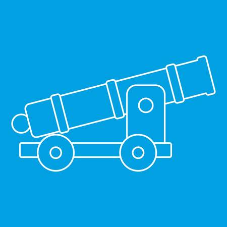 calibre: Cannon icon blue outline style isolated vector illustration. Thin line sign Illustration