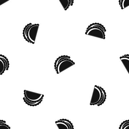 Empanadas de pollo pattern repeat seamless in black color for any design. Vector geometric illustration Illustration