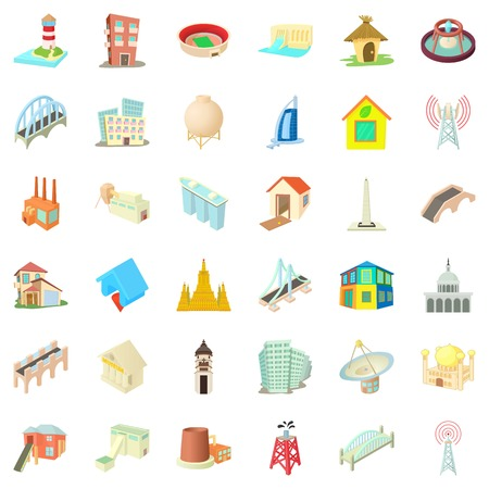 City building icons set. Cartoon style of 36 city building vector icons for web isolated on white background