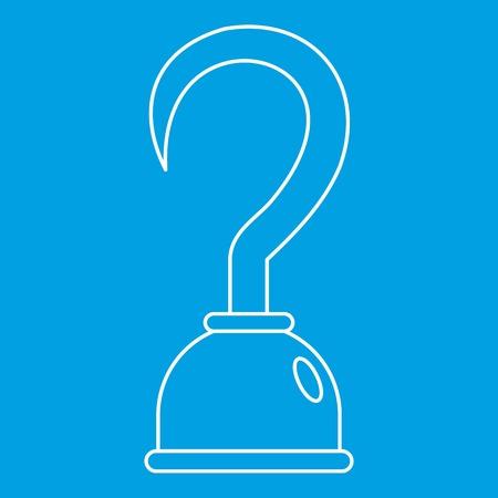 Haak pictogram blauwe omtrek stijl geïsoleerd vectorillustratie. Dunne lijnteken Stock Illustratie