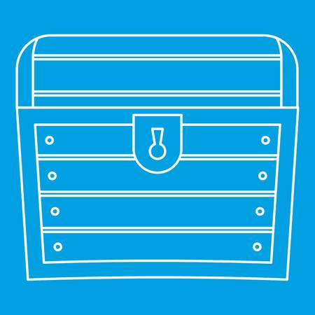 money packs: Chest icon blue outline style isolated vector illustration. Thin line sign