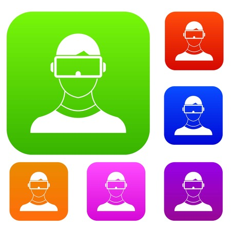 Virtual 3d reality goggles set icon in different colors isolated vector illustration. Premium collection