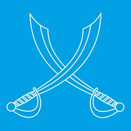 gripping: Crossed sabers icon blue outline style isolated vector illustration. Thin line sign