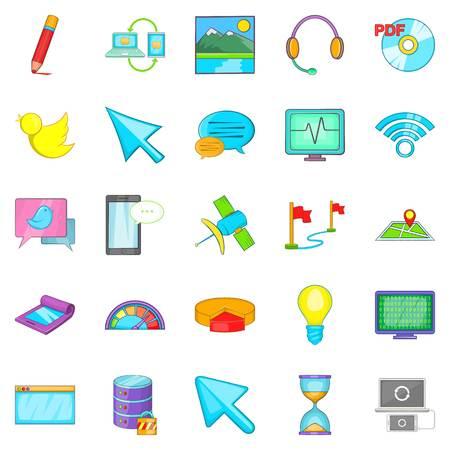 wireless communication: Connecting to database icons set. Cartoon set of 25 connecting to database vector icons for web isolated on white background Illustration