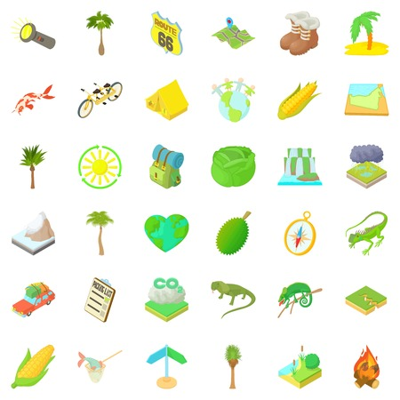 penknife: Nature rest icons set. Cartoon style of 36 nature rest vector icons for web isolated on white background