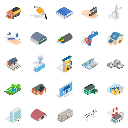 Project icons set. Isometric set of 25 project vector icons for web isolated on white background