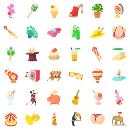 Circus carnival icons set. Cartoon style of 36 circus carnival vector icons for web isolated on white background