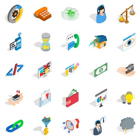 Connection icons set. Isometric set of 25 connection vector icons for web isolated on white background