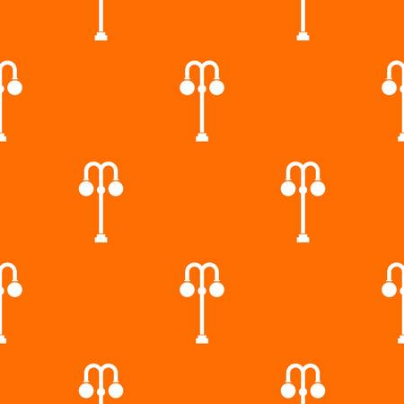 Street lamp pattern repeat seamless in orange color for any design. Vector geometric illustration Illustration