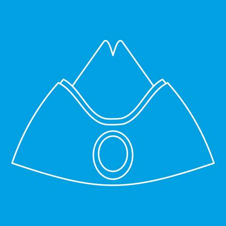 Forage cap icon blue outline style isolated vector illustration. Thin line sign