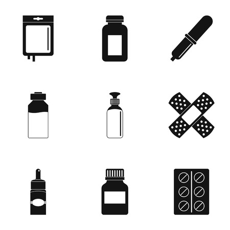 Medicinal preparations icon set. Simple style set of 9 medicinal preparations vector icons for web isolated on white background
