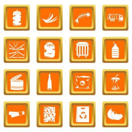 Abfälle und Müll für das Recycling von Icons in orange Farbe isoliert Vektor-Illustration für Web und ein beliebiges Design