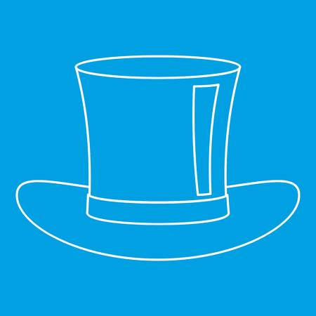 Silk hat icon blue outline style isolated vector illustration. Thin line sign Illustration