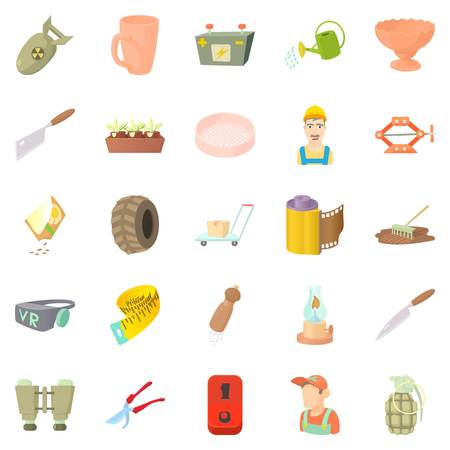 Handicraft icons set. Cartoon set of 25 handicraft vector icons for web isolated on white background