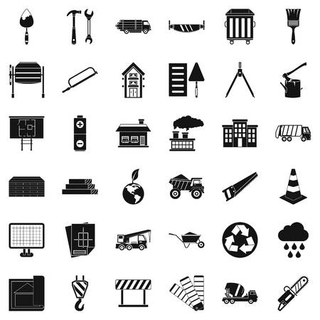 radioactive sign: Construction material icons set. Simple style of 36 construction material vector icons for web isolated on white background