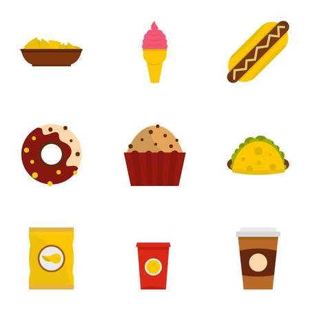 hot dog: Snacks icon set. Flat style set of 9 snacks vector icons for web isolated on white background Illustration