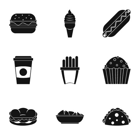 hot dog: Fast food icon set. Simple style set of 9 fast food vector icons for web isolated on white background