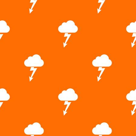 rainy season: Cloud with lightning pattern repeat seamless in orange color for any design. Vector geometric illustration