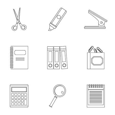 Office stuff icon set. Outline style set of 9 office stuff vector icons for web isolated on white background Illustration