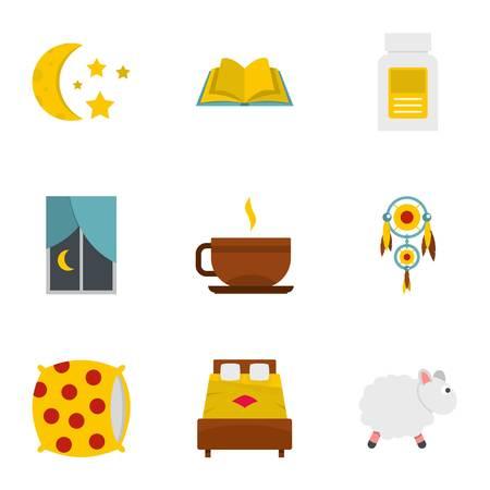 Preparation to sleep icon set. Flat style set of 9 preparation to sleep vector icons for web isolated on white background