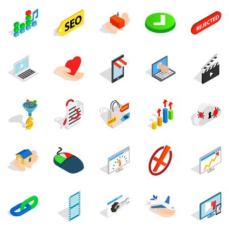 crime prevention: Precaution icons set. Isometric set of 25 precaution vector icons for web isolated on white background