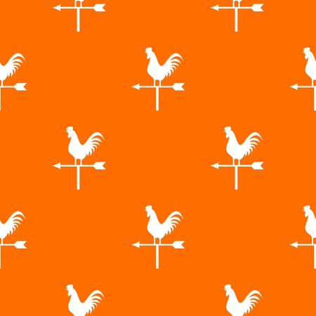 windward: Weather vane with cock pattern repeat seamless in orange color for any design. Vector geometric illustration