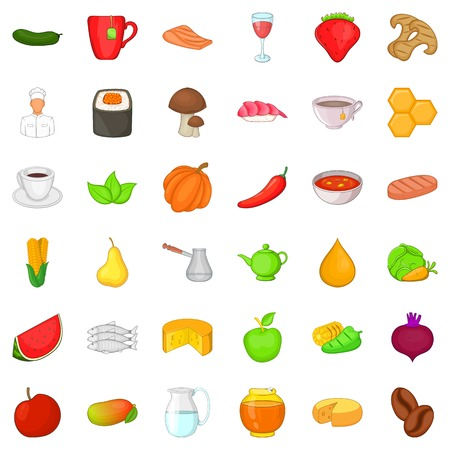 Food for diet icons set. Cartoon style of 36 food for diet vector icons for web isolated on white background