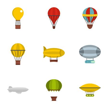 Airships icon set. Flat style set of 9 airships vector icons for web isolated on white background