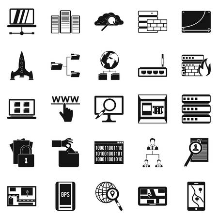 wireless communication: Internet protocol icons set. Simple set of 25 internet protocol vector icons for web isolated on white background Illustration