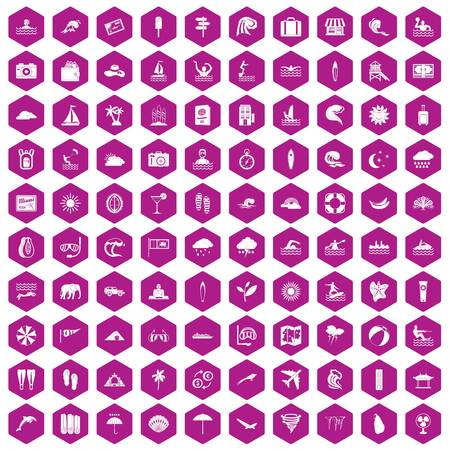 rainbow slide: 100 surfing icons set in violet hexagon isolated vector illustration