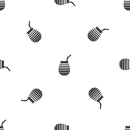 yerba mate: Taza de té usado mate o terere en la repetición patrón Argentina sin costuras en color negro para cualquier diseño. Vector ilustración geométrica