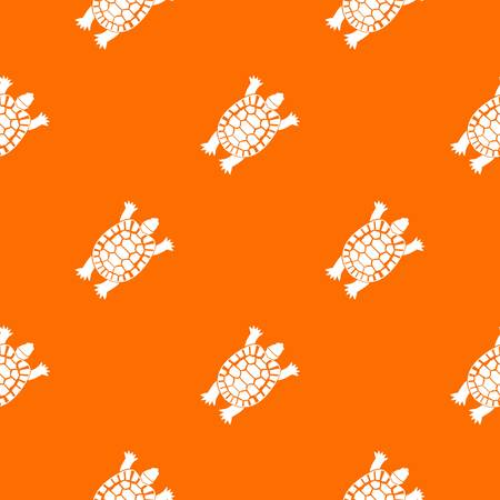 Turtle pattern repeat seamless in orange color for any design. Vector geometric illustration Illustration