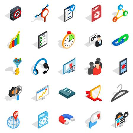 querying: Guidance icons set. Isometric set of 25 guidance vector icons for web isolated on white background