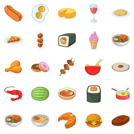 Dinner break icons set, cartoon style Illustration