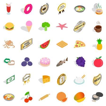 Tasty dish icons set, isometric style Illustration