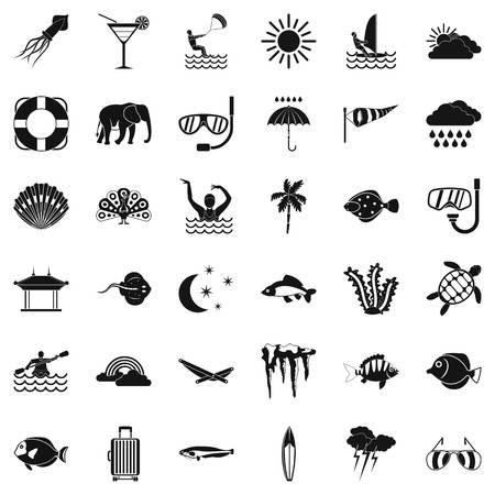 Water diving icons set, simple style Illustration