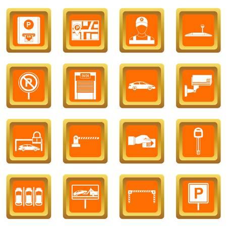 Parcheggio auto set arancione