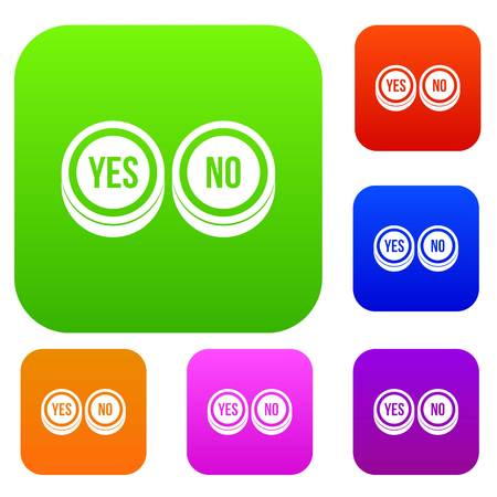 Round signs yes and no set icon in different colors isolated vector illustration. Premium collection Illustration