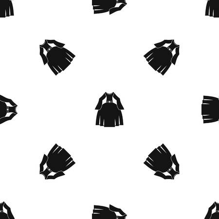 comfortable: Princess dress pattern repeat seamless in black color for any design. Vector geometric illustration
