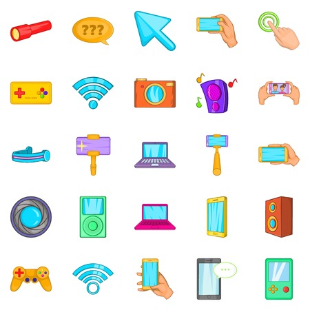 techology: Mobile phone icons set. Cartoon set of 25 mobile phone vector icons for web isolated on white background