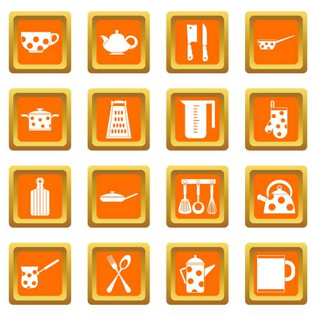 Kitchen tools and utensils icons set orange