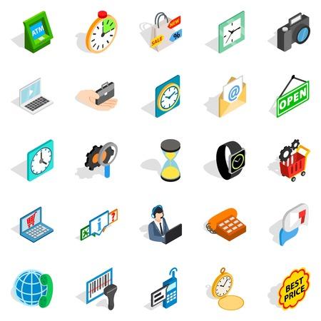 techology: Bauble icons set, isometric style Illustration