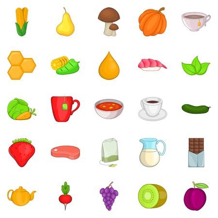 Ensemble d'icônes diététiques, style de dessin animé