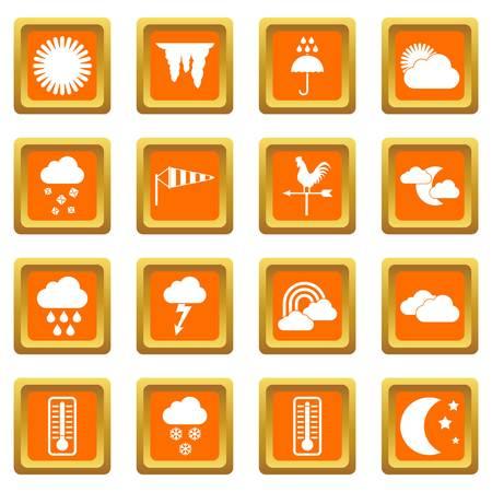 windy day: Weather icons set orange