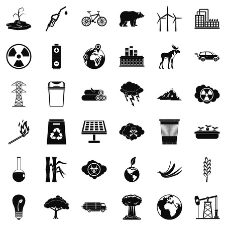 oil lamp: Environmental icons set. Simple style of 36 environmental vector icons for web isolated on white background