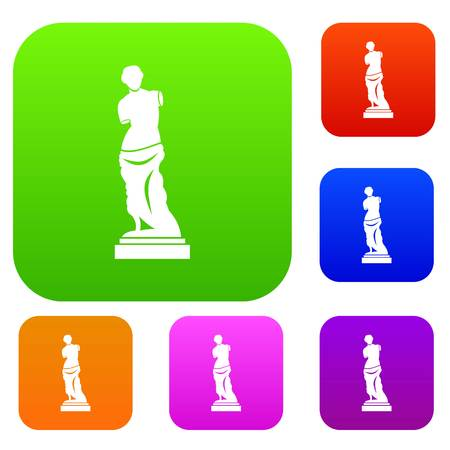 Ancient statue set icon in different colors isolated vector illustration. Premium collection