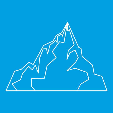 Iceberg icon blue outline style isolated vector illustration. Thin line sign