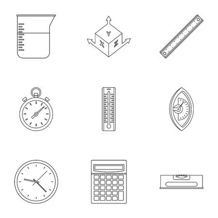 Measuring icon set, outline style